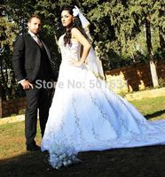 Free Shipping Best Quality Custom Ivory Satin Gold Embroidered Halter Wedding Dress With Royal Train Embroidery
