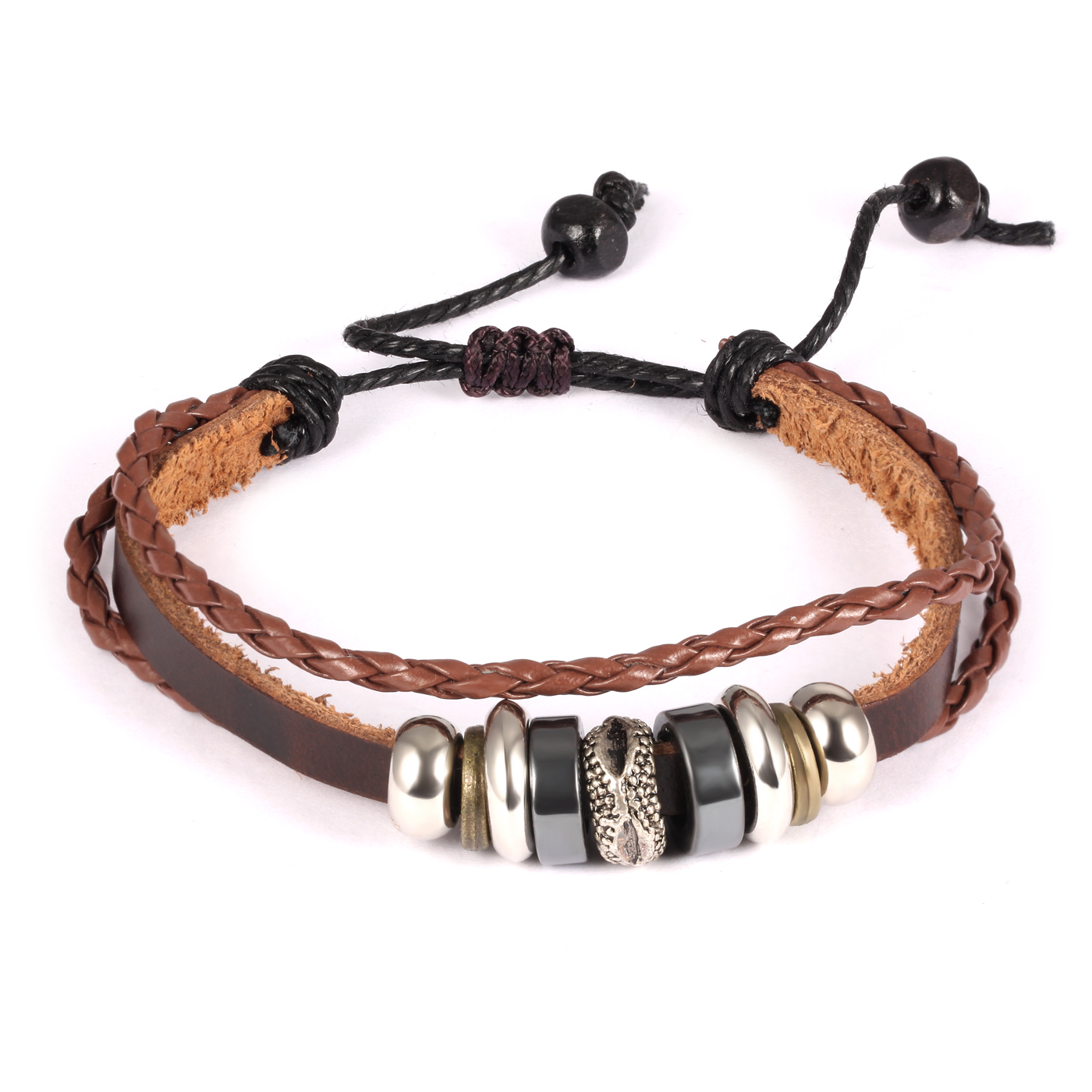 Punk Handmade Leather Man's Wrap Bracelets Casual Adjustable Pu Leather  Sports Men Jewelry Cool Wristband(