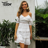 Yesexy 2019 New Hallow Out Strap White Women Dress Vacation Sweetheart Dress Summer Boho Half Sleeve Ruffles Casual Dress VR0057