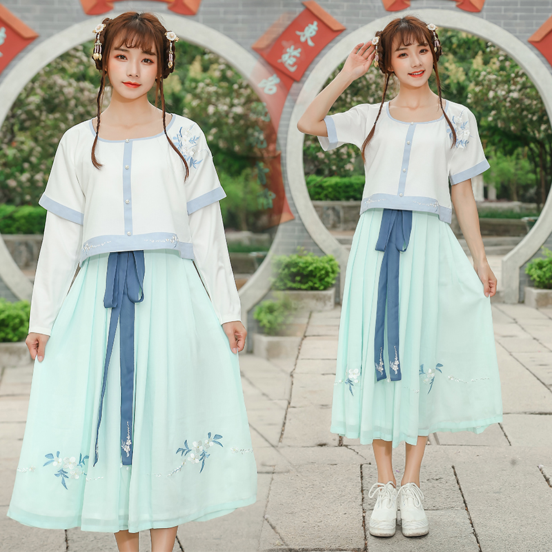 Summer Women Long dress O-Neck Han Daily Modified Hanfu Suits Embroidered Half Show Dresses 1813