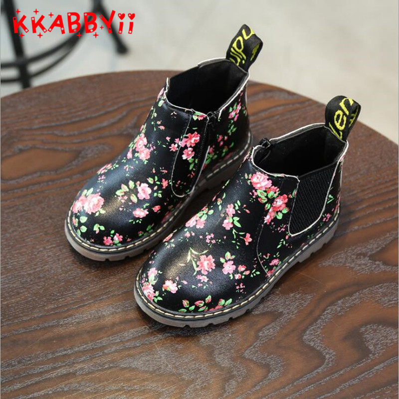KKABBYII Girls Princess Shoes New Autumn Winter printing Children Pu Leather Boots Fashi ...