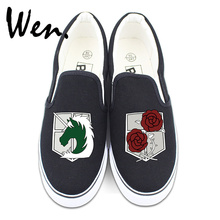 Фотография Wen Unisex Slip On Shoes Design Custom Anime Attack on Titan Military Police Regiment Logo Stationed Corps Canvas Sneakers