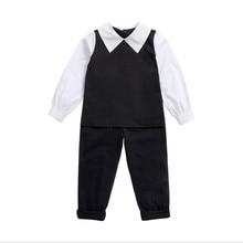 Детская одежда, весенне-осенняя рубашка, детские штаны, два комплекта детской одежды, черно-белый хлопковый комплект из двух предметов