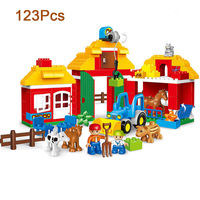 DIY Colorful Farm Zoo Big Particle Building Blocks Educational Toy for Children Gift Compatible LegoINGlys duplo slide
