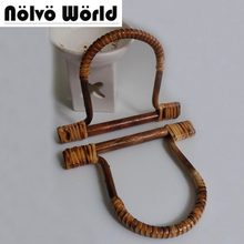5 пар = 10 шт., 16×12.5 см натуральный ротанг ручки для сумки, пасторальный Стиль Ретро ручной вязки сумки небольшой ротанга ручка