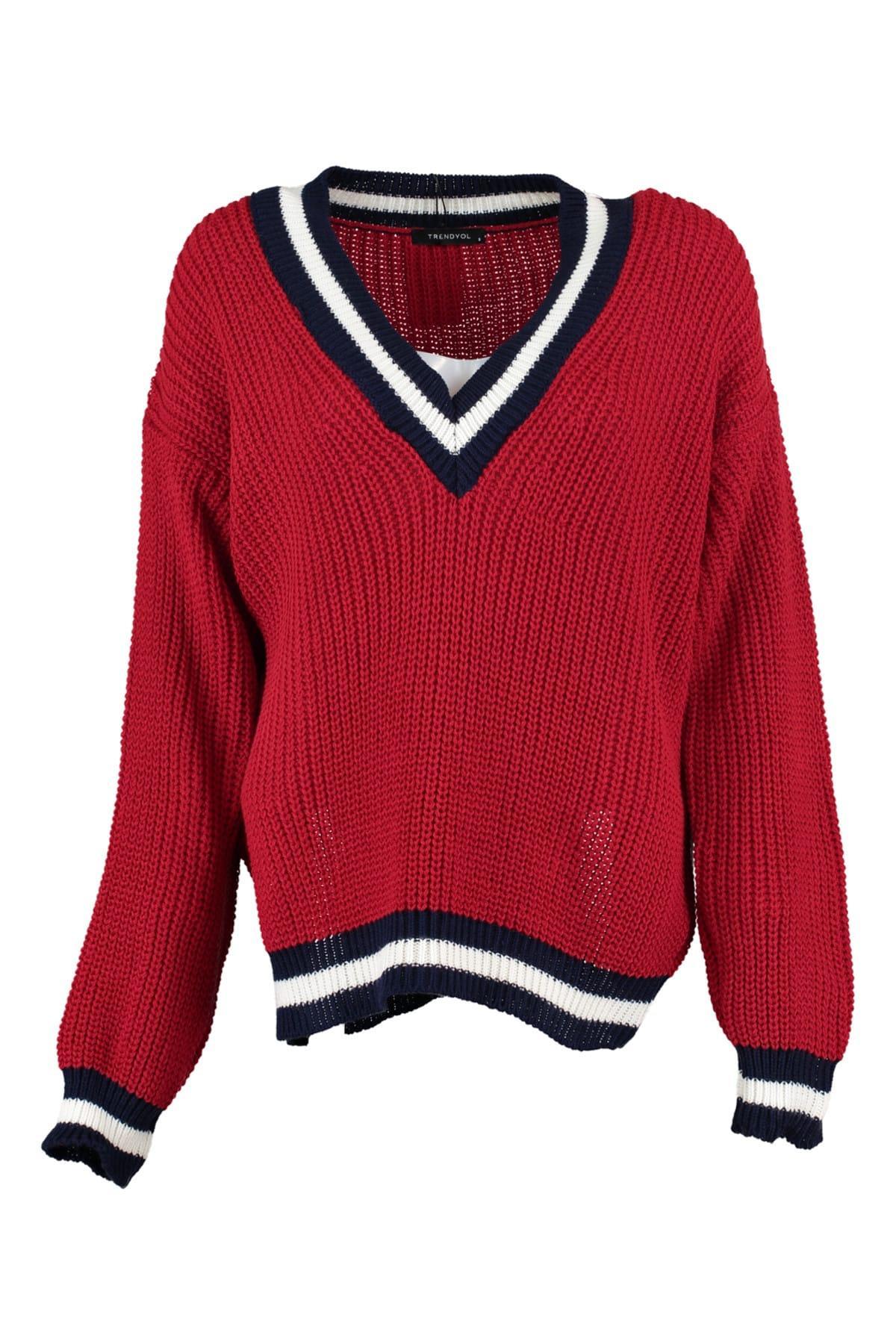 Trendyol WOMEN-Red Ribana Detayl? Knitwear Sweater TWOAW20FV0060