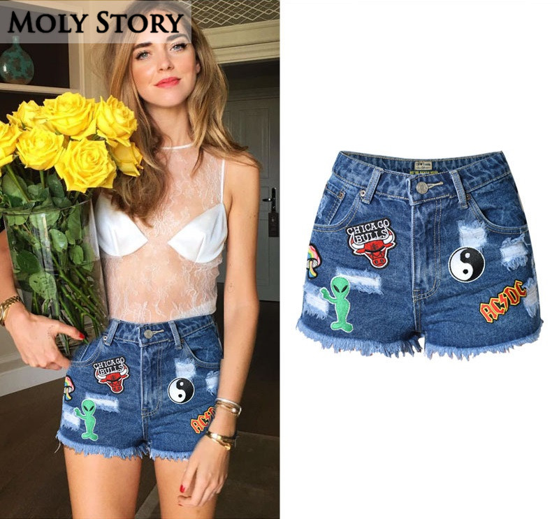 new fashion cute patches jean shorts women high waisted ripped denim shorts femme slim short. Black Bedroom Furniture Sets. Home Design Ideas