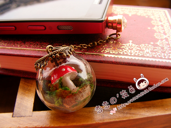 Zakka vintage handmade small mushroom glass bottle crystal ball pendant dust plug mobile phone lanyards