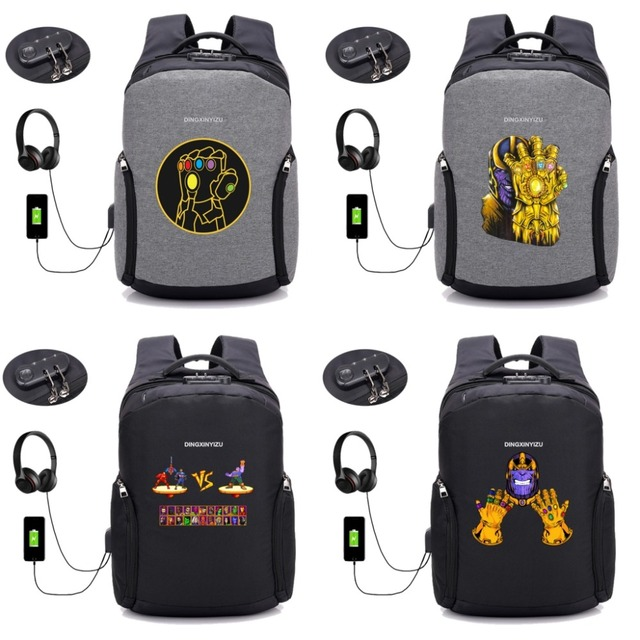 2710b44652 Marvel Avengers Infinity War Thanos Anti-theft USB Charging Backpack  Teenager Travel Men Backpack student bookBag 26 style