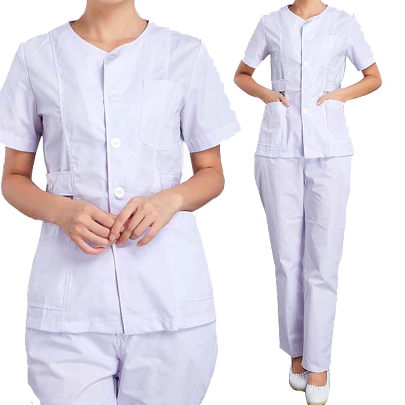 [SET] Women's Nursing Uniforms Medical Scrub Sets Short Sleeves Collarless Tops And Pants