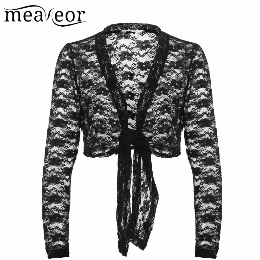 Meaneor Tulle Floral Lace Cardigans Women Kimono Bow Lace-up See-through Black Cardigan Open Stitch Elastic Autumn Female Tops