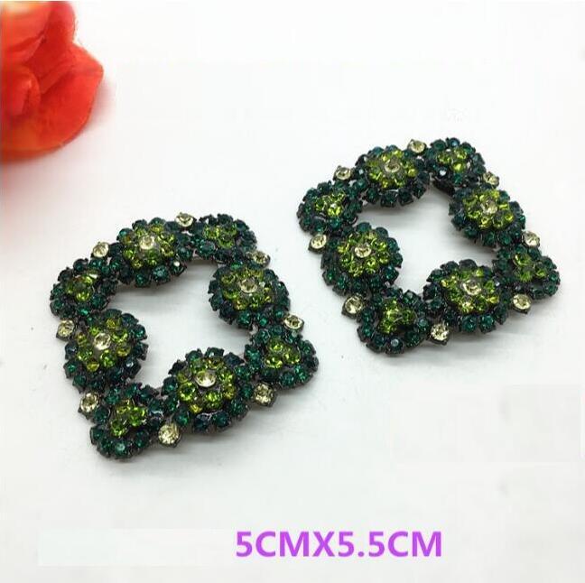 1 Para Von High-grade Platz Diamant Glänzende Farbe Grün Schuhe Von Blume Schuh Schnalle Schuhe Zubehör Ausreichende Versorgung