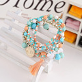 Woman Jewelry 2016 Fashion Bohemia Style Multilayer Metal Bracelet Colorful Beads Coin Tassel Bracelets