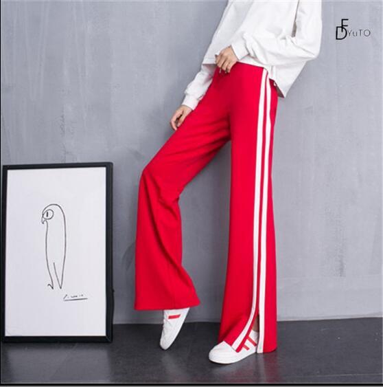 Escolar Mujer Moda rojo Uniforme 2017 Azul Sueltos Pantalones Nueva De fP04WWqx