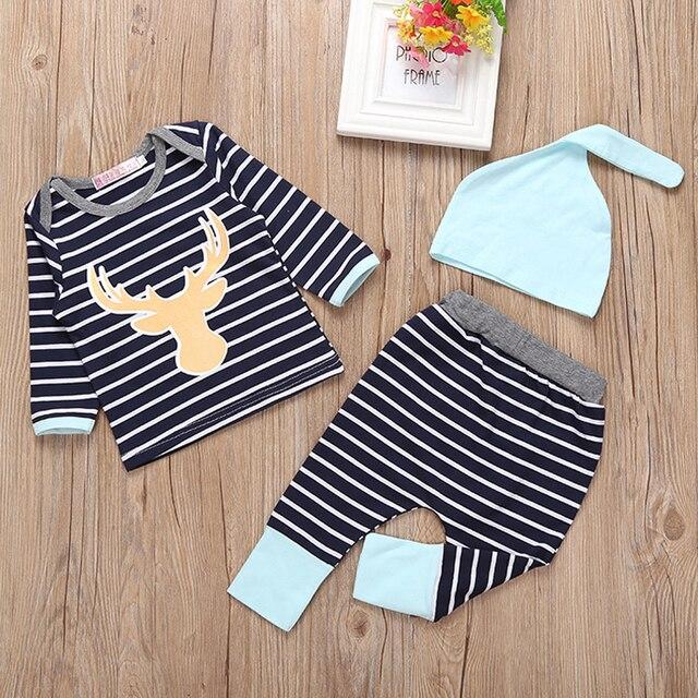 Малыш Baby Boy Одежда Наборы Весна Шляпы + Футболки + Брюки 3 шт. Новорожденный Мальчик Одежды Наборы рождество Малыш Мальчик Одежда Набор