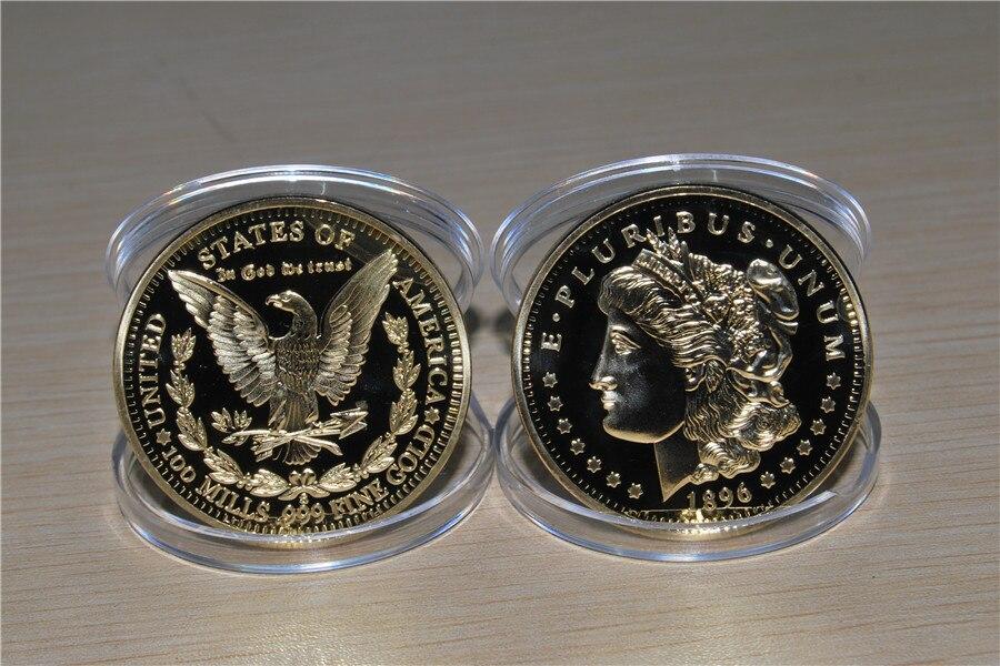 UNITED STATES 1896 Gold Plated MORGAN Dollar Souvenir Coin, E PLURIBUS UNUM Replica Commemorative free Shipping