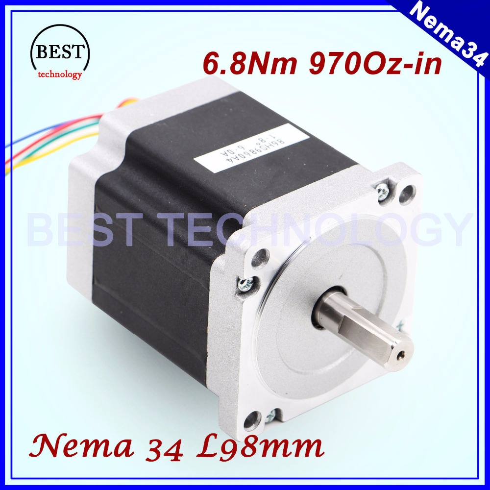 цена на NEMA 34 CNC stepper motor  86X98mm 6.8 N.m 6A D14mm stepping motor 972Oz-in for CNC engraving machine and 3D printer!