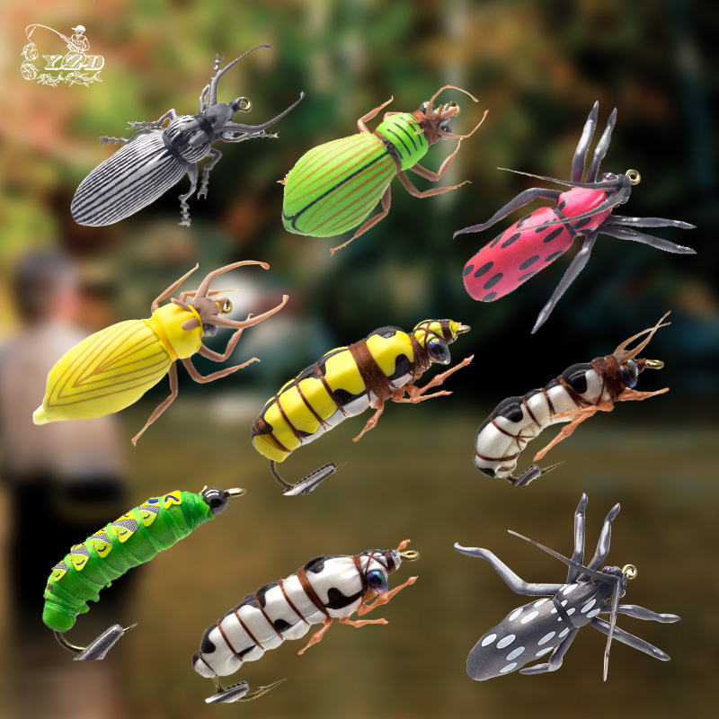 Set mosche di pesca a mosca secca Beetle Insect Lure Fly Kit per Rainbow Trout Flies Bass 2 # 6 # 8 Assortimento di modelli FlyFishing