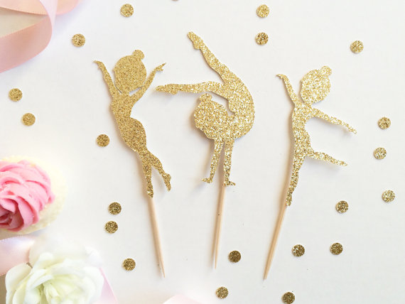 Glitter Gymnastics Cupcake Toppers Food Picks Bachelor Bachelorette Nautical Wedding Bridal Engagement Princess Birthday Party
