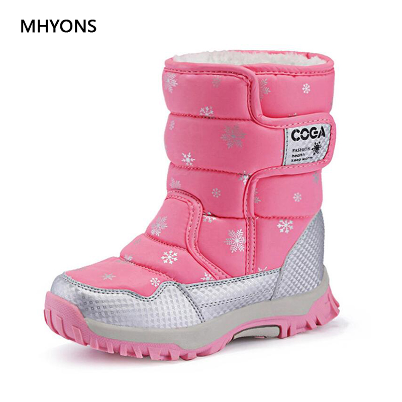 MHYONS Kids Boots Cotton Warm Plush Winter Girl Boots Fashion Waterproof Children's Shoes Girls Boys Boots Perfect For Kids A901