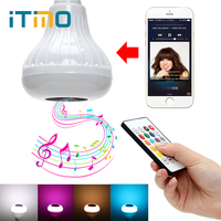 ITimo E27 RGB RGBW Smart Bluetooth Speaker Bulb Dimmable Ball Wireless Remote Control Music Playing Light