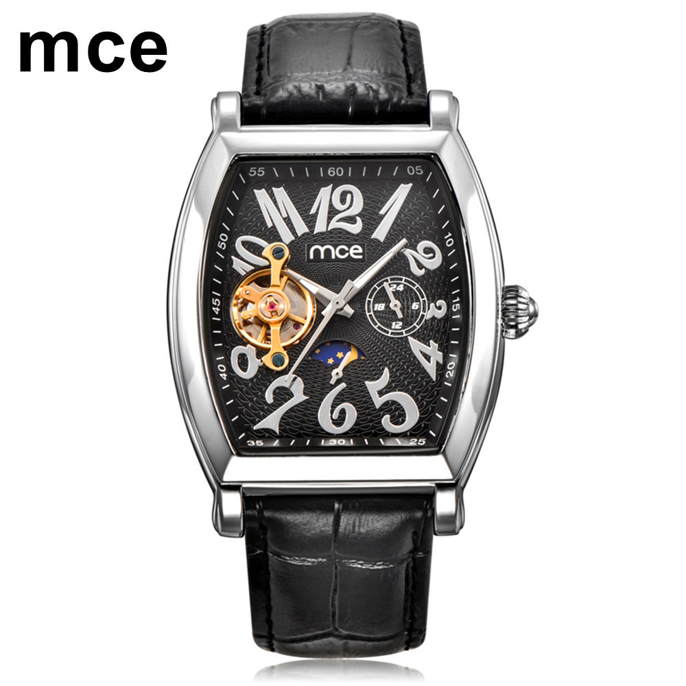 MCE Square Mechanical Design Silver Case Black Dial Black Leather Strap Mens Watches Top Brand Luxury Tourbillon Automatic Watch mens mechanical watches top brand luxury watch fashion design black golden watches leather strap skeleton watch with gift box