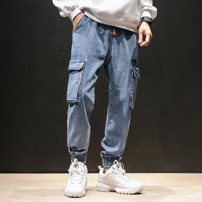 Vintage Fashion Denim Pant Men Streetwear Hip Hop Cargo Pant Elastic Waist   Jeans   Male Harem Trousers