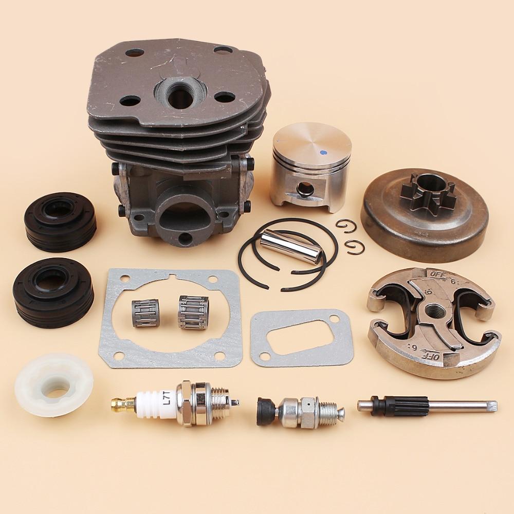 45mm Cylinder Piston Clutch Drum Oil Pump Piston Kit For Husqvarna 350 340 345 Jonsered 2141 2150 CS2141 CS2150 Chainsaw Parts