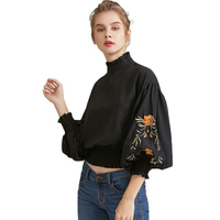 Fashion Chic Lantern Sleeve Floral Embroidery Blouse Women Vintage High Neck Blouses 2017 Summer Club Party