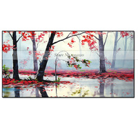New Wall Art Handmade Autumn Tree Scenery Canvas Oil Painting Wall Decor Mangrove Forest Living Room Gift Handpainted Decoration