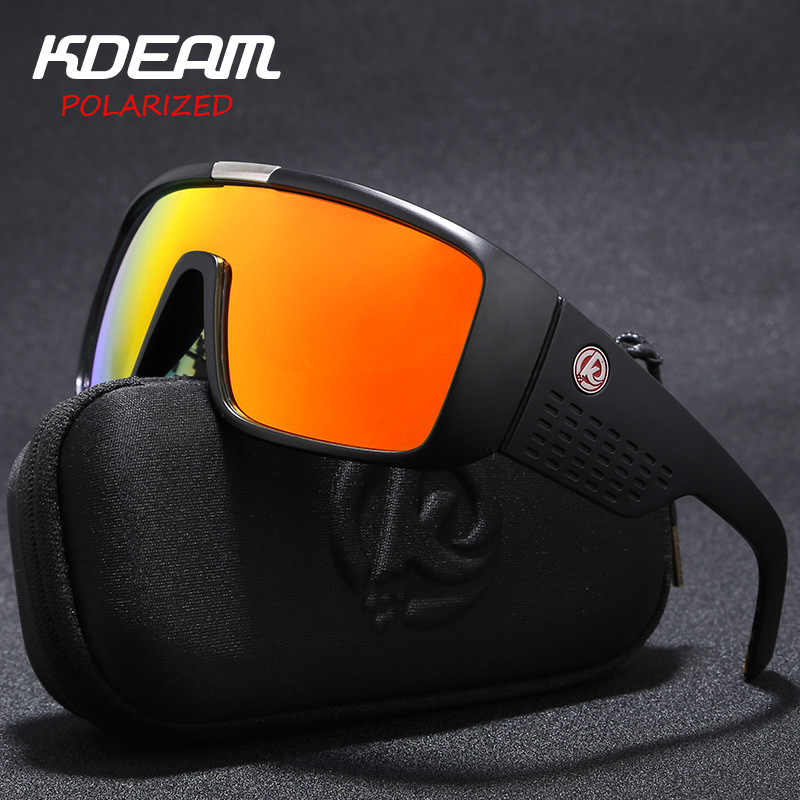 Fashion Men's Sun Glasses From KDEAM Big Frame Polarized Sunglasses Men Classic Design All-Fit Mirror Sunglasses With Brand Box