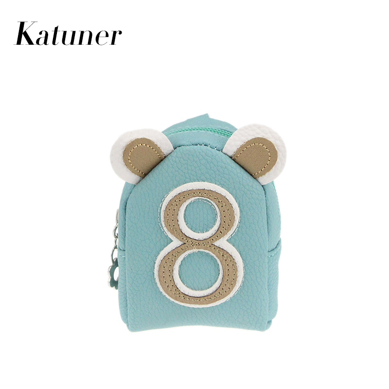 Katuner New Number Kawaii Purse Children Kids Wallet For Girls Women  Leather Keychain Coin Purses Mini Bag Monedero Mujer KB016