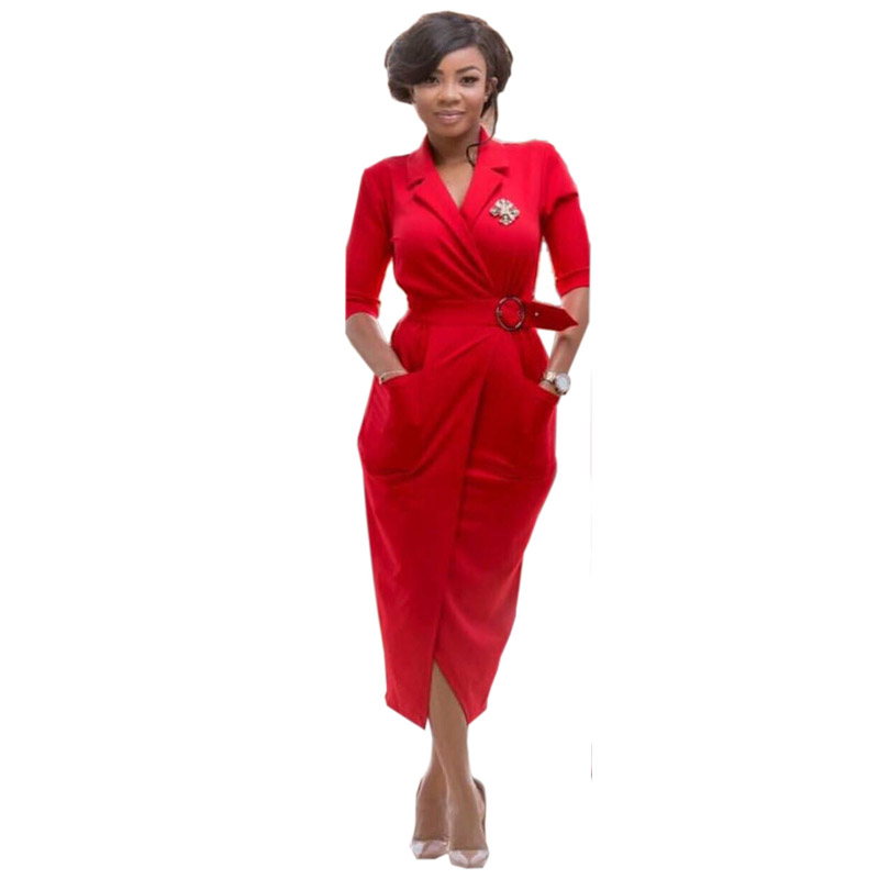 Women Elegant Evening Party New Arrival 2019 Runway High Quality Short Sleeve Below Knee Belt Pockets African Slit Red Dress 30