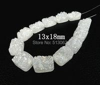 NEW SALE ! White Titanium Druzy Ag ate Slab Beads Pendants ,Drusy Geode Quartz Rectangle Beads13x18mm ,various size for choice