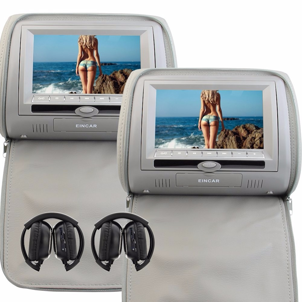 Car Headrest DVD Player Pupug Gery Universal Digital Screen zipper Car Monitor USB FM TV ...