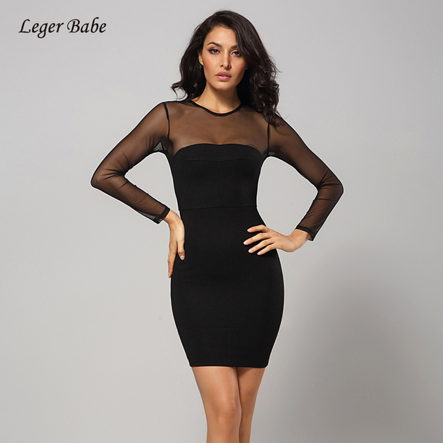 Leger Babe 2018 New Arrival Winter Bandage Dress Long Sleeve Sexy Cocktail  Party Club Women Backless Bodycon Black Dress Vestido adc55bfa4
