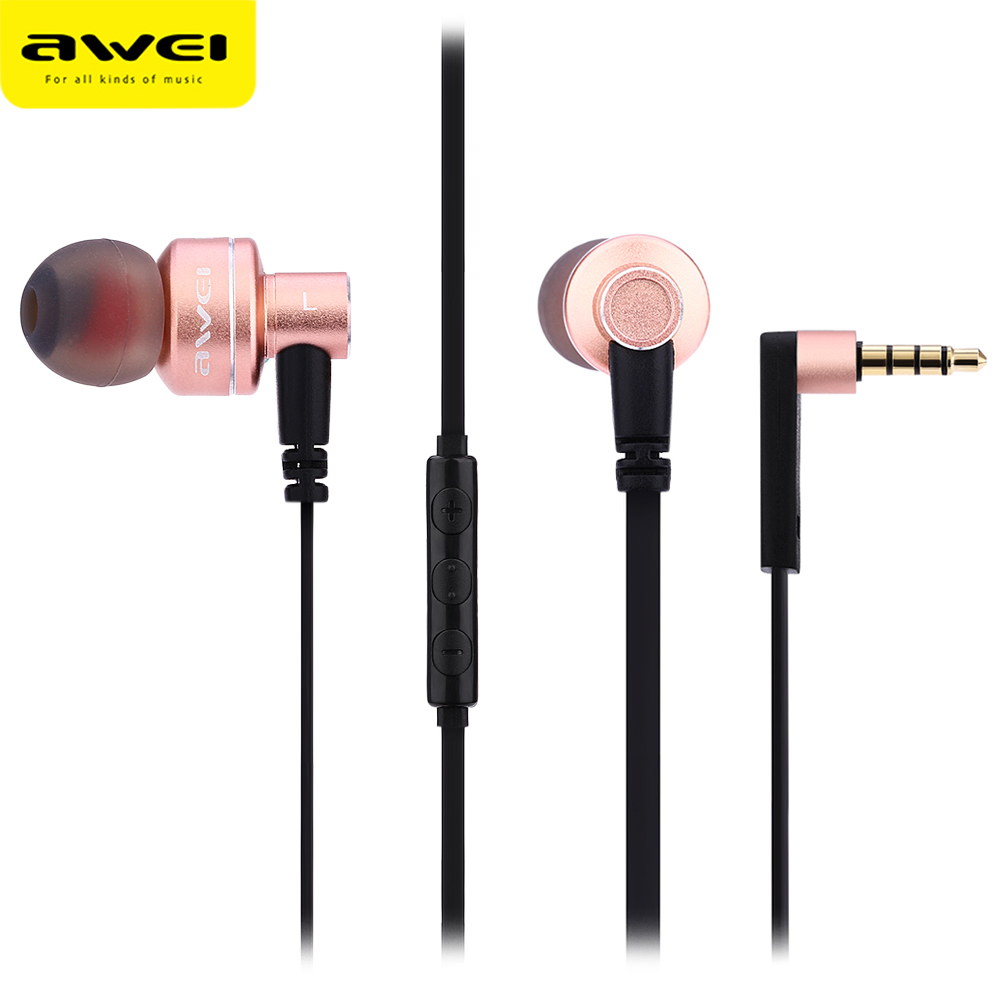 цена на Awei ES 10TY Stereo Earphone Noise Cancelling Isolation HiFi Super Bass Treble And Clear Earphones In-Ear Earphones