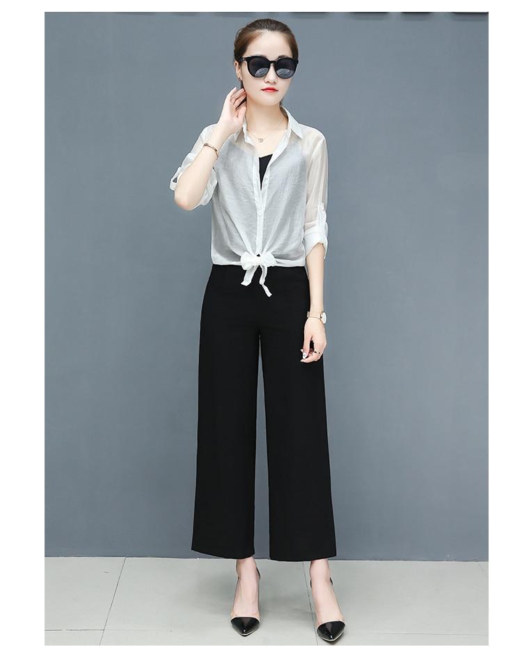 2019 Spring summer women sets office lady elegant chiffon blouse shirts+female wide leg pants trousers pantalon two piece sets 14