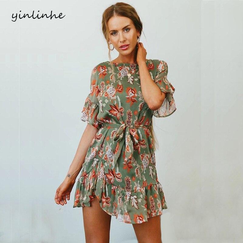 Yinlinhe Green Floral Summer Dress Short Sleeve 2018 Sash