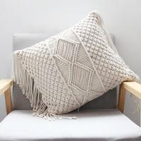 45cm x 45cm Pillow Cushion Cover Cotton thread hand woven linen Cover Car Home Decoration Sofa Bed Decor Bohemia Pillowcase