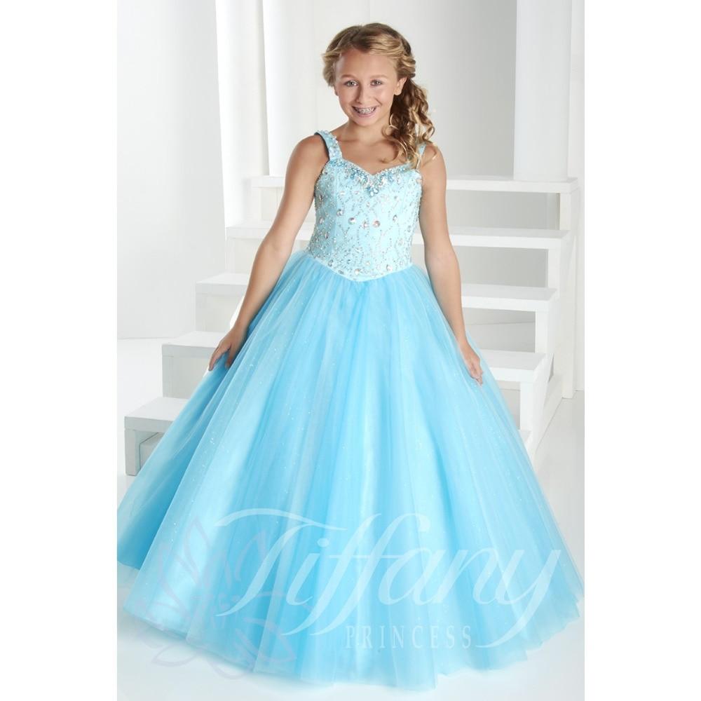2015 Fashion Spaghetti Straps Ball Gown Little Kids Big Girls Party ...