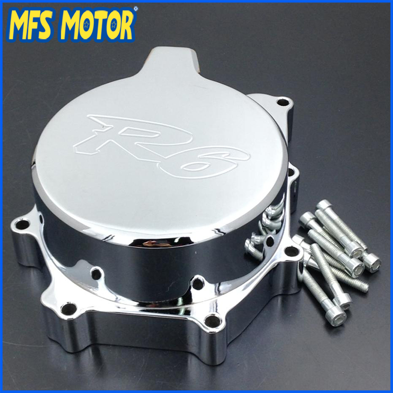 Freeshipping Motorcycle Left side Engine Stator cover For Yamaha YZF R6 YZF-R6 1999 2000 2001 2002 Chrome