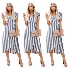 2019 New Yfashion Women Fashion Sexy V-neck Stripe Bandage Dress