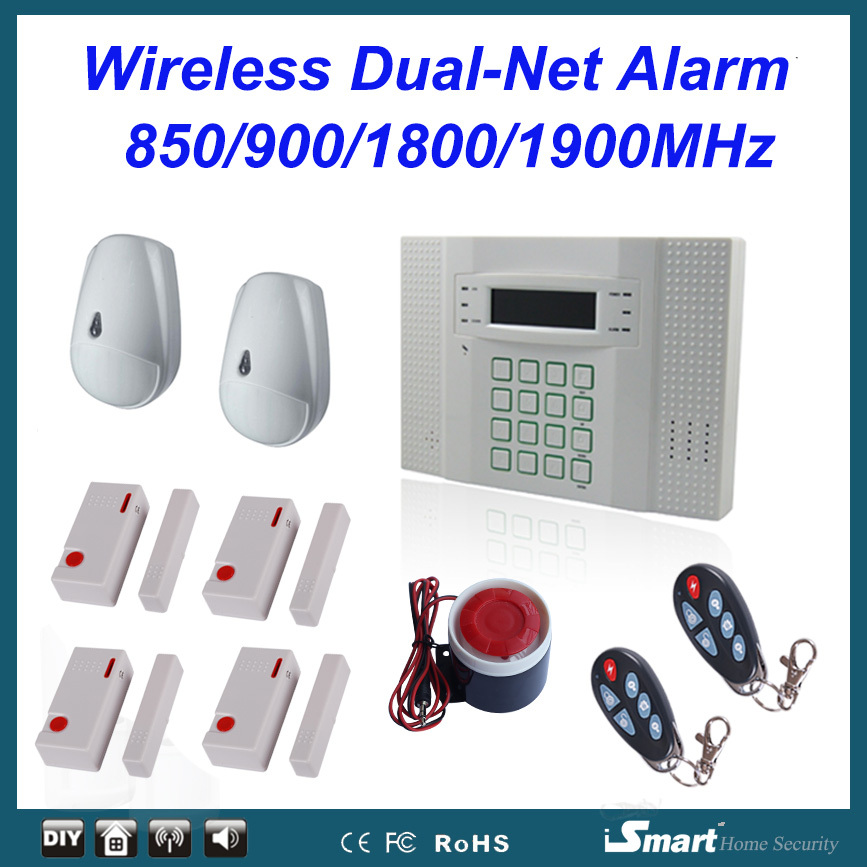 40 Zones LCD Display GSM and PSTN Dual Network Wireless Home Security Alarm System with 2-Way Talking,Free Shipping home security self defense pstn gsm sms alarm system 315 433mhz 16 wire and wireless zones lcd keypad burglar alarm