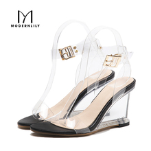 Wedges Heels Sandals Women Summer Ankle Strap Stripper Shoes Sexy Clear High Heels Jelly Sandals Women Sandalias Sandale Femme
