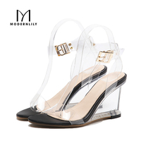 Wedges Heels Sandals Women Summer Ankle Strap Stripper Shoes Sexy Clear High Heels Jelly Sandals Women