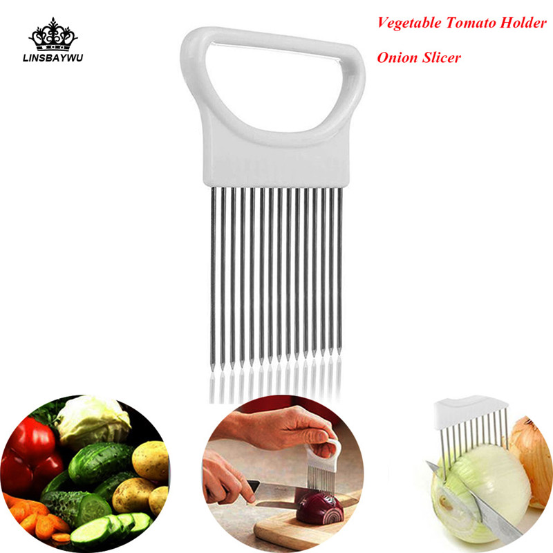 1Pcs Kitchen Onion Slicer Easy Cut Onion Holder Fork Vegetable Slicer Cutting Aid Guide Holder Fruit Cutter Cooking Accessories