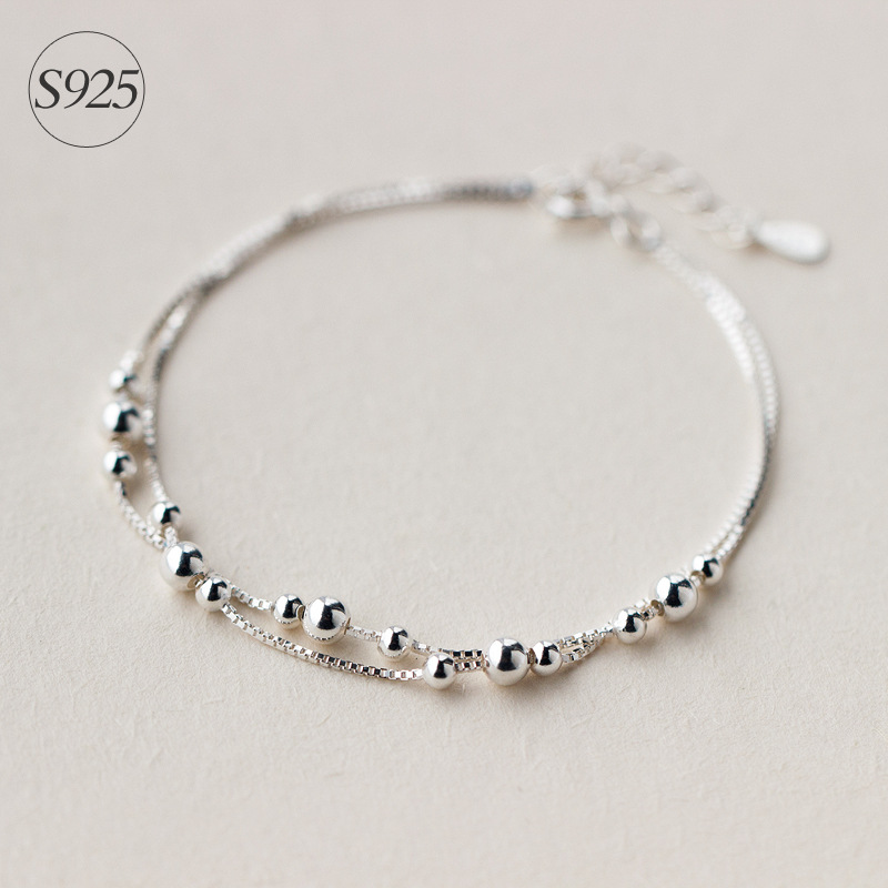 Genuine 925 Sterling Silver jewelry two Layers Smaller&Bigger Beads Round Box Chain bracelet Adjustable GTLS155Genuine 925 Sterling Silver jewelry two Layers Smaller&Bigger Beads Round Box Chain bracelet Adjustable GTLS155