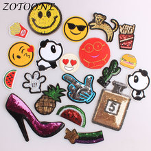 ZOTOONE Sequin Pineapple Iron on Patches for Clothing Animal Cat Peacock Panda Embroidery Patch Applique Clothes Decoration E