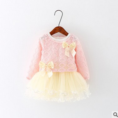 2016 new autumn baby girl dress princess dress lace hollow bow cotton dress 2pcs soft pink childrens clothing free shipping